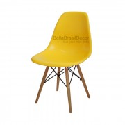 Cadeira Charles Eames Polipropileno Amarelo Base Madeira - DKR WOOD AMARELO