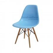Cadeira Charles Eames Polipropileno Azul Base Madeira - DKR WOOD AZUL