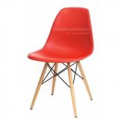 Cadeira Charles Eames Polipropileno Vermelha Base Madeira - DKR Wood