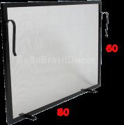 Tela de Proteção para Lareira Preta 80x60