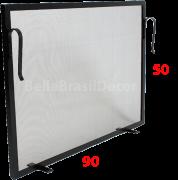 Tela de Proteção para Lareira Preta 90x50