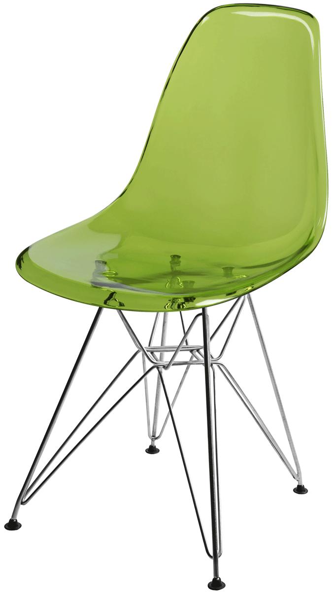 Cadeira Eames Side Policarbonato Base Eiffel Cromada