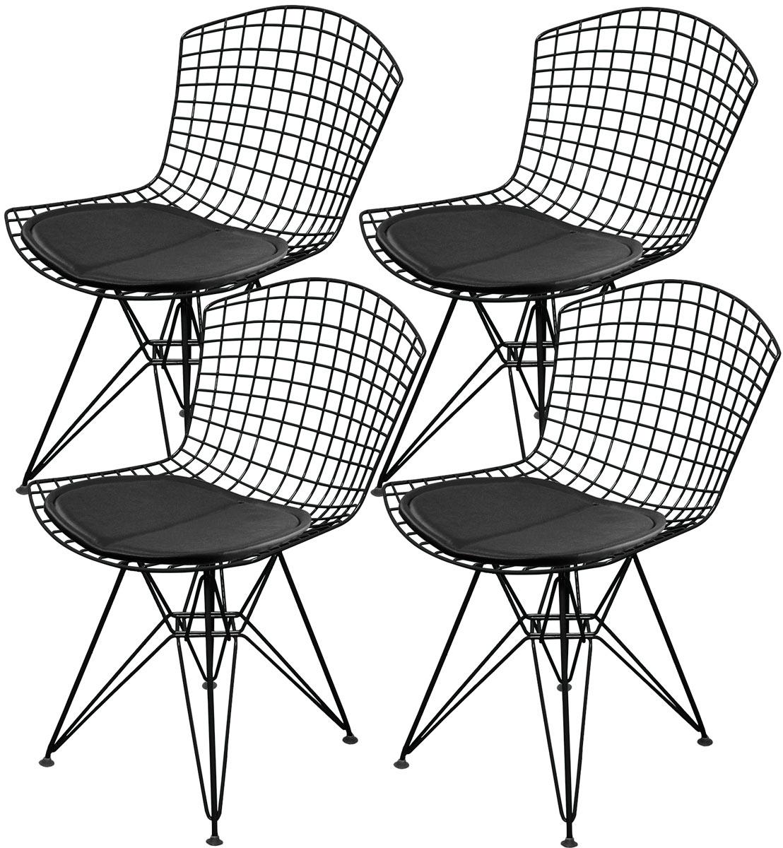 Kit 4x Cadeira Bertoia DKR Preta com Assento - Pintada Epoxi - Ponta de estoque