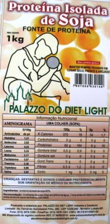Proteína Isolada de Soja em Pó - Grupo Palazzo do Diet Light - fabricante do Doçurinha  - PALAZZO DO DIET LIGHT