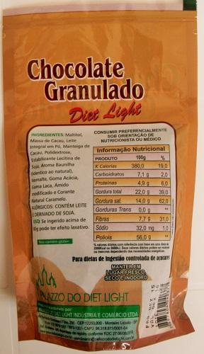 Chocolate Granulado Diet Light - Família Doçurinha  - PALAZZO DO DIET LIGHT