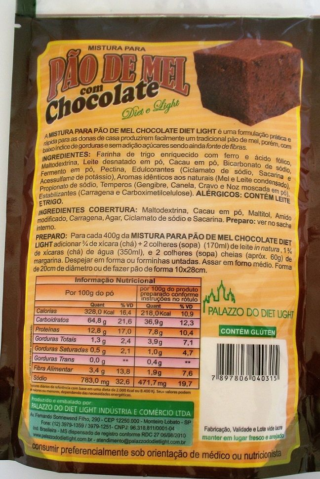 Mistura para Pão de Mel Chocolate Diet Light  - PALAZZO DO DIET LIGHT