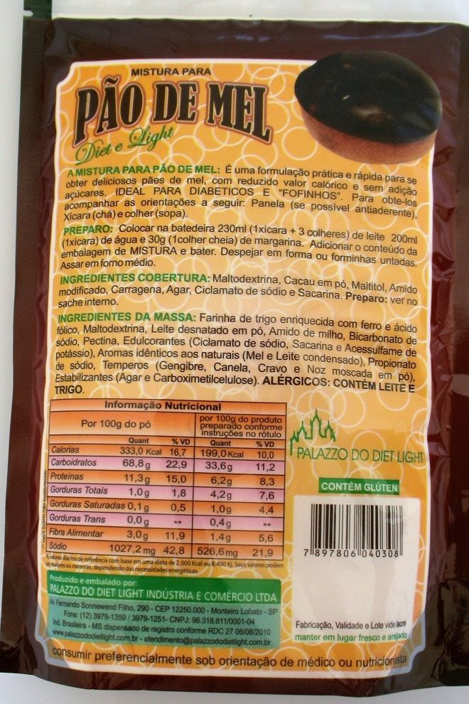 Mistura para Pão de Mel Diet Light - Família Doçurinha  - PALAZZO DO DIET LIGHT