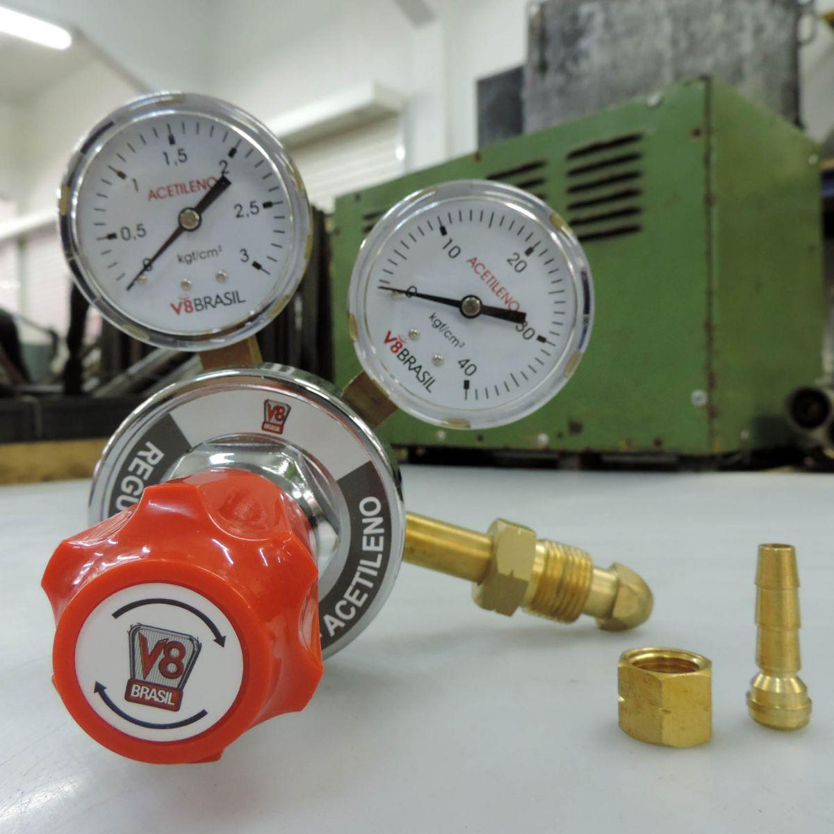 Regulador De Pressão Para Gás Acetileno Ac-10 V8 Brasil