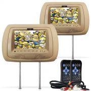 Par Encosto de Cabe�a com Tela LCD 7 Polegadas Bege USB SD Aux