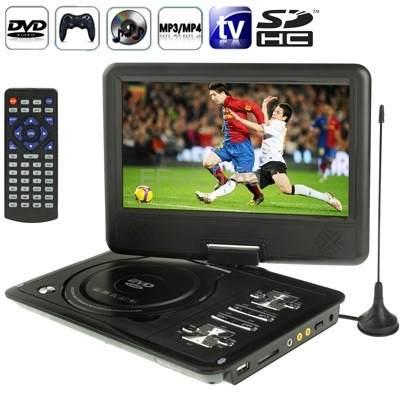 Dvd Portatil Tv 9.8 Tela Lcd Gira 270º Sd Usb Fm 300 Jogos