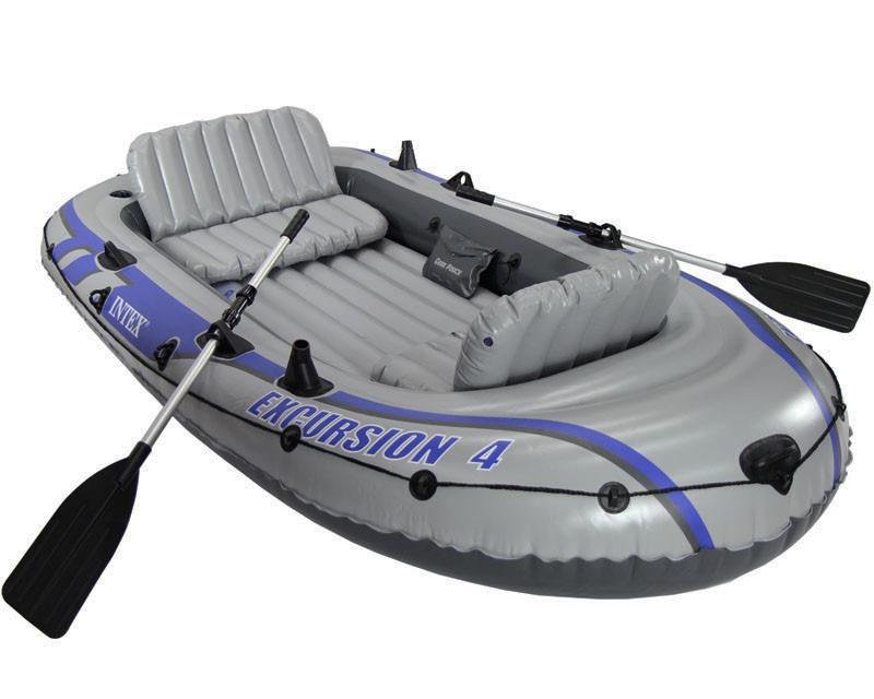 Barco Bote Inflável Intex Excursion 4 Pessoas Remos Bomba