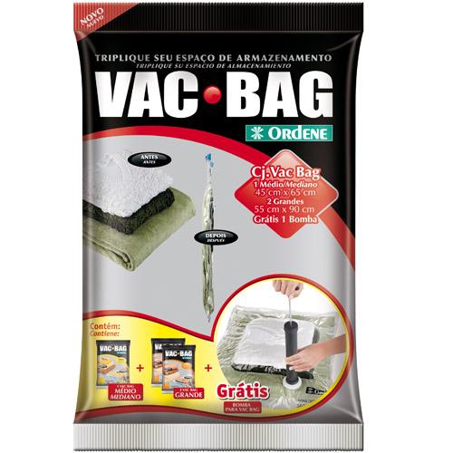 Kit Saco a Vacuo com 1 Médio + 2 Grande + Bomba - Vac Bag