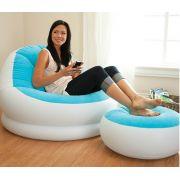 Poltrona inflável com Pufe Apoio para os pés Azul - Intex
