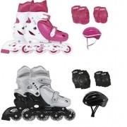 Kit Patins Roller + Kit Proteção Cinza ou Rosa - MOR