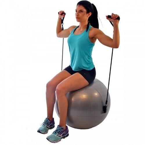 Bola Suíça Pilates Fitness 65 Cm Com Extensores - Liveup