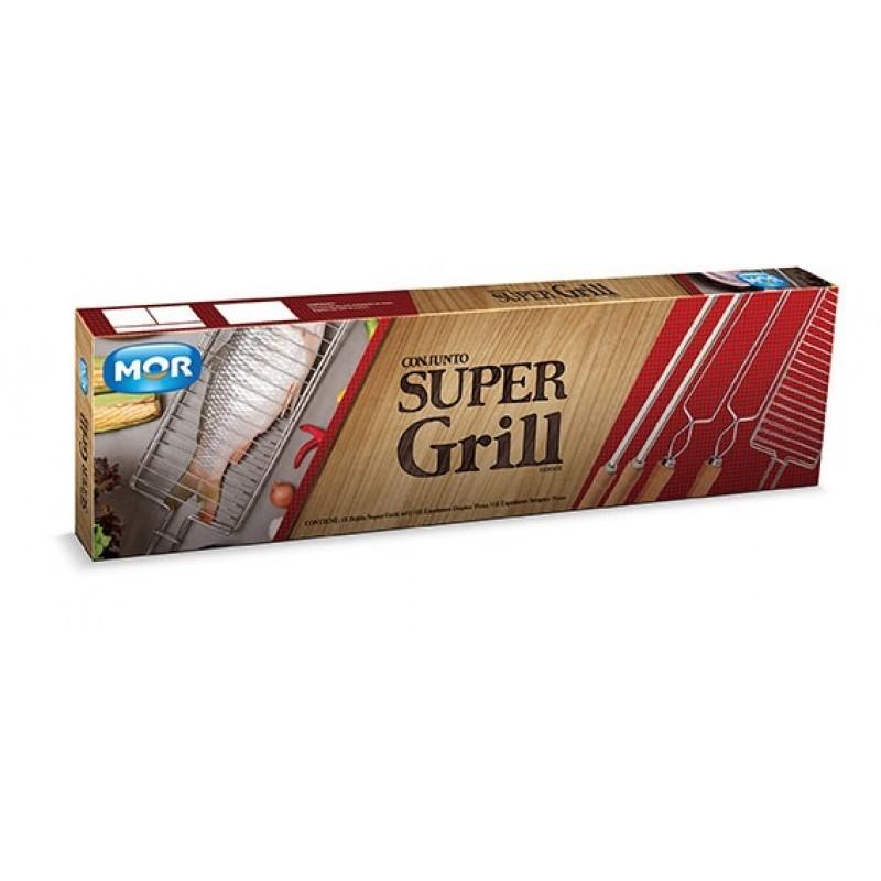 Super Grill Cromado Grelha 5 Peças Mor - Churrasco 003302