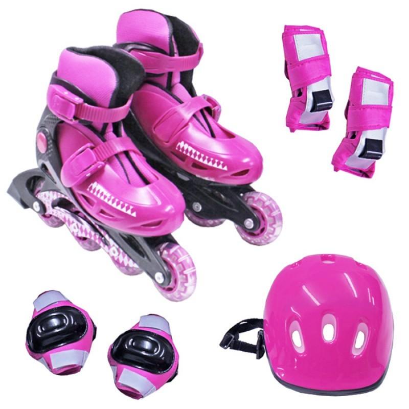 Kit Patins Roller Inline Completo + Proteção Rosa