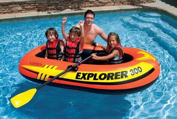 Bote Inflável Explorer 300 Intex Até 186kg - Par Remos Bomba