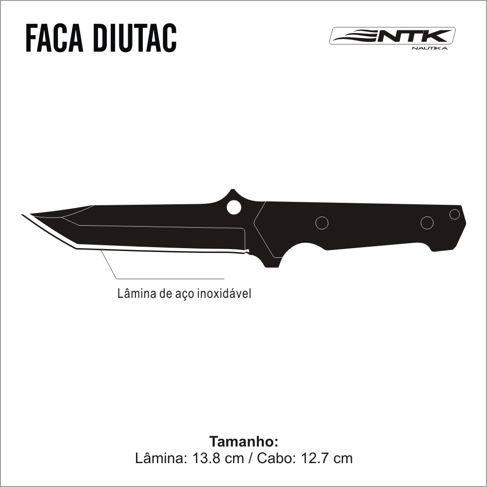 Faca Tática Diutac C/ Estojo - Nautika