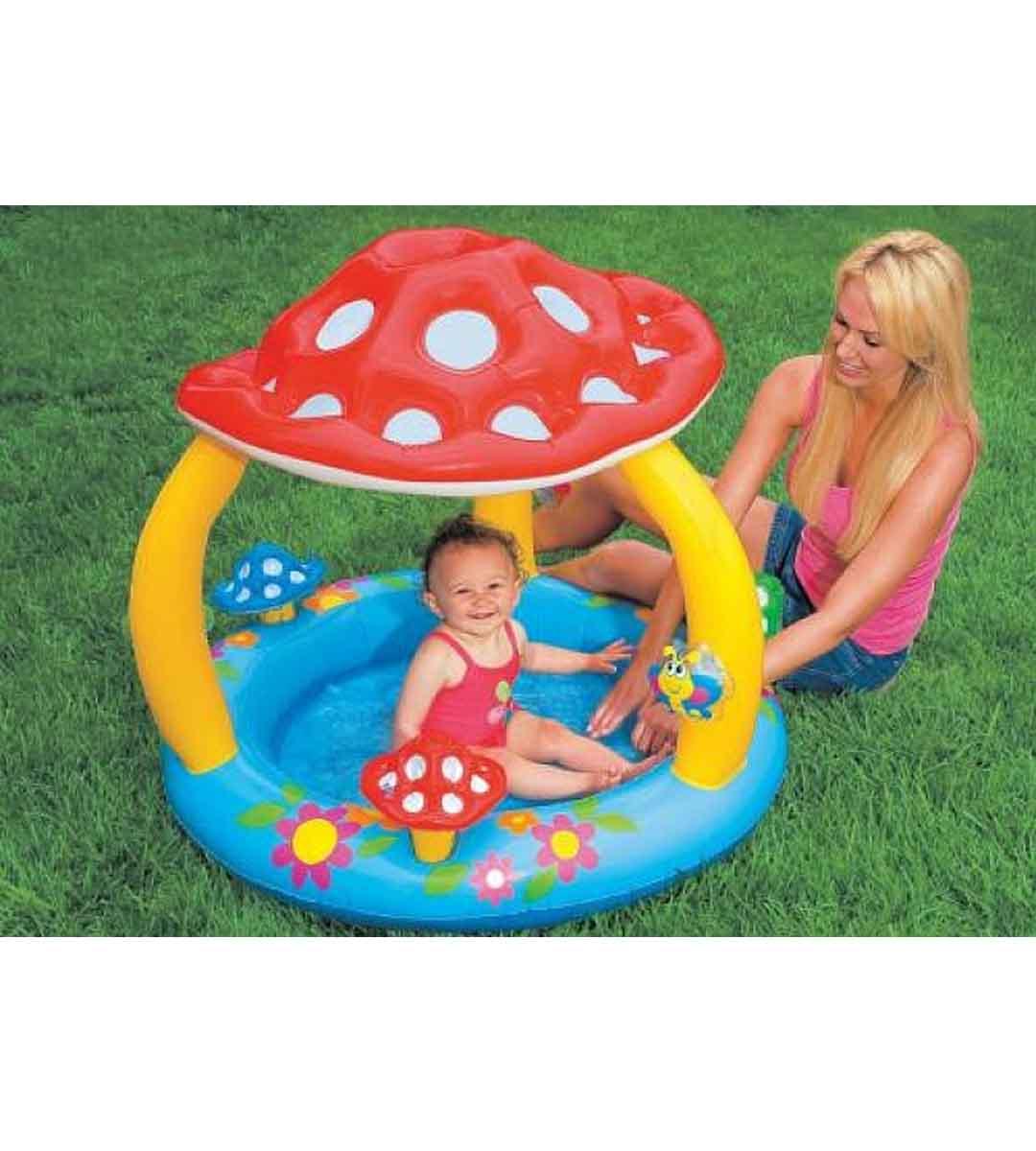 Piscina Inflável Bebes Infantil Cobertura Cogumelo - Intex