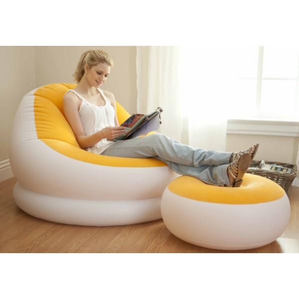 Poltrona inflável com Pufe Apoio para os pés - Intex