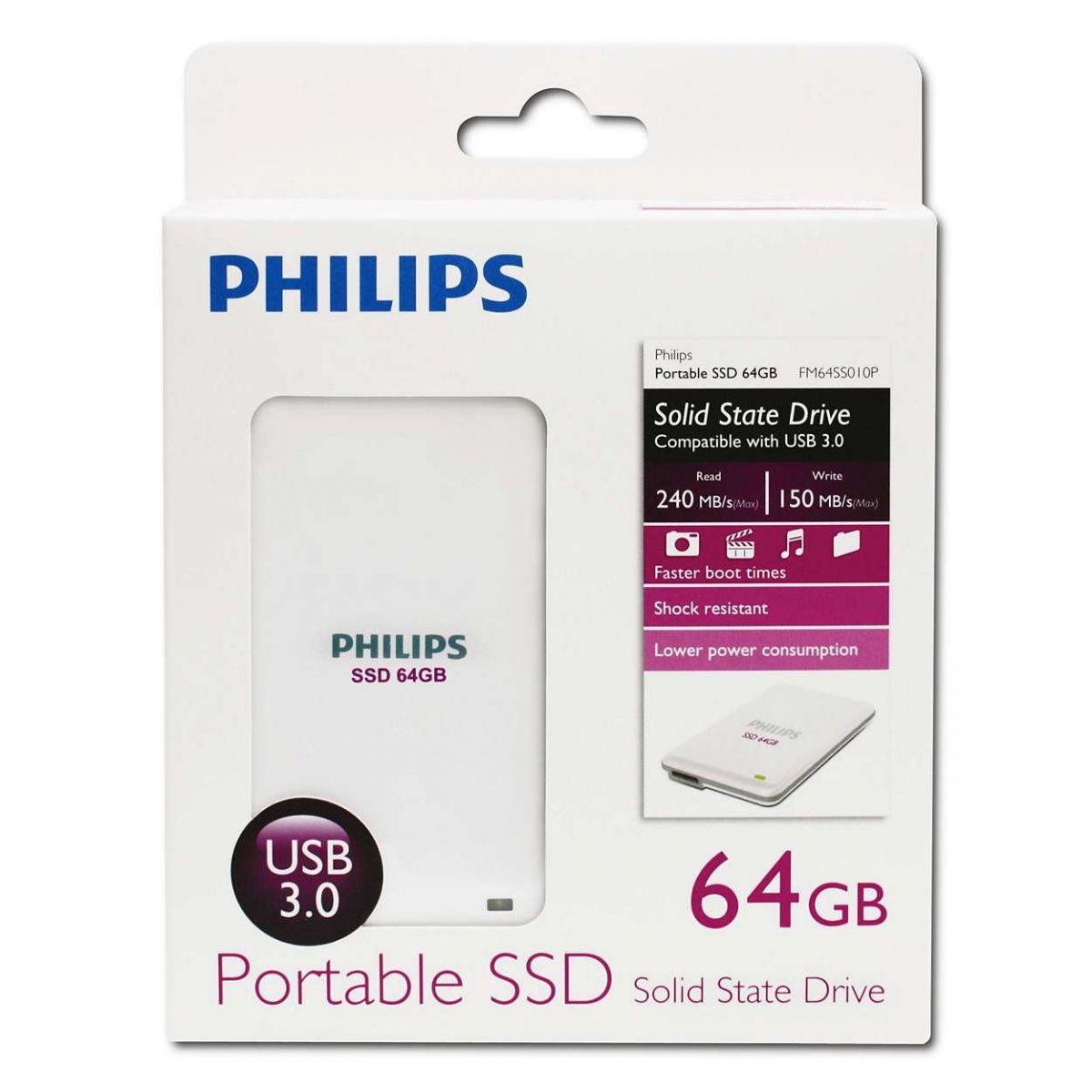 Pendrive Hd Externo Ssd 64gb Usb 3 0 Philips Fm64ss010p R