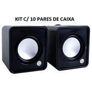 Pack c/ 10 Caixas de Som Brastech p/ PC Notebook ES-37