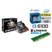 Kit Placa Mãe Asrock H110M-DVS 1151 + Processador Intel Core I3 6100 + 4gb Ram DDR4 2133MHZ Kingston