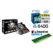 Kit Placa Mãe Asrock H110M-DVS 1151 + Processador Intel Core I5 6400 + 4gb Ram DDR4 2133MHZ Kingston
