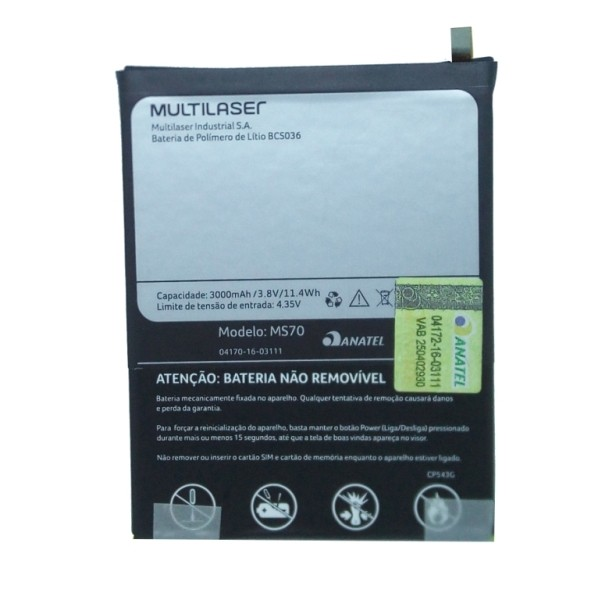 Bateria Celular Multilaser MS70 3,8V 3000mAh 11.4Wh BCS036 Original