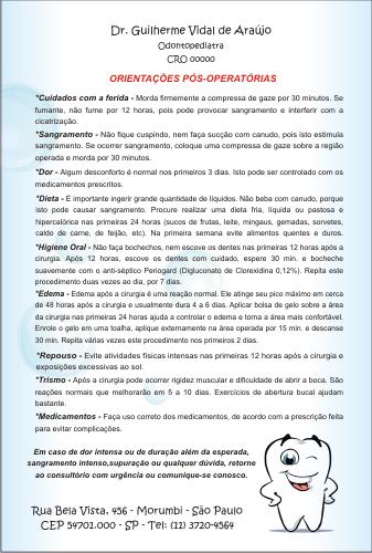 Orientações Pós-Operatórias PEDIATRIA - Ref. 3331