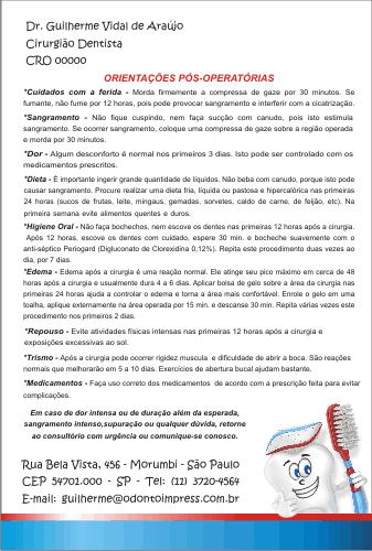 Orienta��es P�s-Operat�rias PEDIATRIA - Ref. 3333