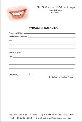 Bloco Encaminhamento Paciente ORTODONTIA- Ref. 3470