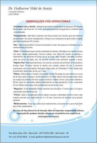 Orienta��es P�s-Operat�rias - Ref. 0596