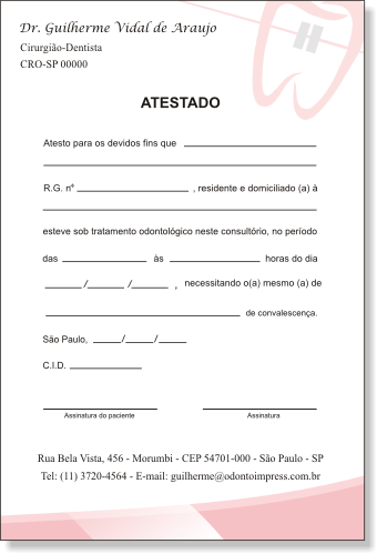 Atestado ORTODONTIA - Ref. 1069