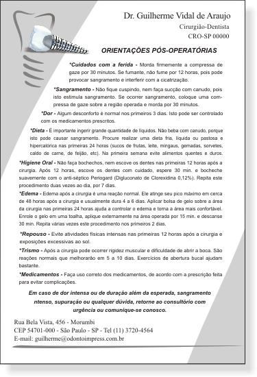 Orienta��es P�s-Operat�rias IMPLANTODONTIA - Ref. 3359