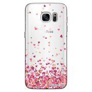 Capa Transparente Personalizada Exclusiva Samsung Galaxy S7 Edge Corações - TP48