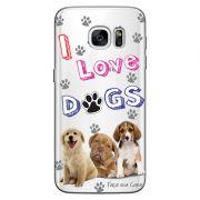 Capa Transparente Personalizada Exclusiva Samsung Galaxy S7 Edge Eu Amo Meus Cachorros - TP69