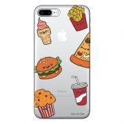 Capa Transparente Personalizada Para iPhone 7 Plus e iPhone 7 Pro Eu Amo Comida - TP106