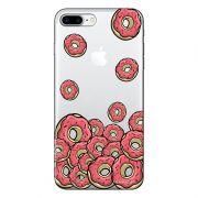 Capa Transparente Personalizada Para iPhone 7 Plus e iPhone 7 Pro Eu Amo Donuts - TP108