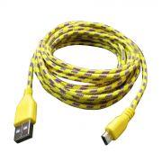 Cabo de Dados e Carregador Estilo Corda Micro Usb 3 Metros Amarelo