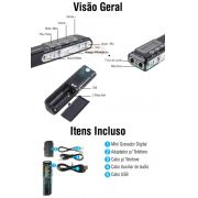 Gravador De Áudio Voz Digital R-70 4 GB Escuta Telefônica Mp3 - JS Soluções em Segurança