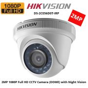 Câmera Dome infrared Turbo HD 3.0 Full HD 2 Megapixels 2.8mm 20mts DS-2CE56D0T-IRP Hikvision 1080p - JS Soluções em Segurança