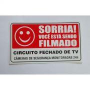 Placa Sorria, Voc� est� sendo Filmado - Plastico PVC ( pequena)
