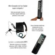 Gravador De Áudio Voz Digital R-70 8 GB Escuta Telefônica Mp3 - JS Soluções em Segurança
