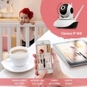Câmera infra IP HD 1.0 megapixel Sem Fio c/ 2 Antenas Pantilt 355Hx90Vº 1280*720p Onvif - JS Soluções em Segurança