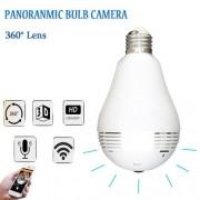 Câmera Panorâmica 360 Graus Sem Fio WiFi IP Fisheye luz da lâmpada Câmera de Segurança de Vigilância Em Casa - JS Soluções em Segurança