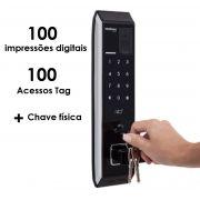 Fechadura digital de embutir com biometria, senha, cartao e chave  4 em1 intelbras FR 330 - JS Soluções em Segurança