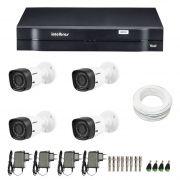 Kit 4 Câmeras de Segurança HD 720p Intelbras VHD 1010B G4 + DVR Intelbras Multi HD + Acessórios sem HD - JS Soluções em Segurança