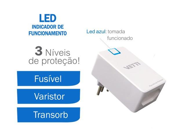 Anti-Raio Plug Premium 3 níveis de proteção 127V 10A  - JS Soluções em Segurança